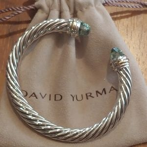David Yurman 7mm prasiolite w/ gold cable bracelet